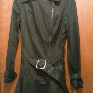 NWT Coat Black Belted Gunmetal Front-Zip Trench '